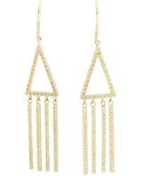 Jennifer Meyer Metallic Diamond Open Triangle Long Fringe Earrings