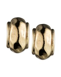 Anne Klein | Metallic Gold-tone Button Earrings | Lyst