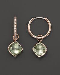 Lisa Nik - Metallic 18K Rose Gold Diamond Hoop Earrings With Prasiolite Detachable Drops, 0.16 Ct. T.W. - Lyst