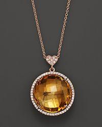 Lisa Nik Metallic Citrine and Diamond Pendant Necklace in 18k Rose Gold 18