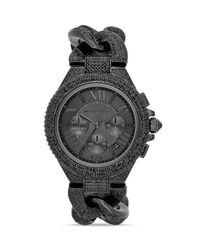 Michael Kors | Midsize Black Camille Chronograph Glitz Watch 43mm | Lyst