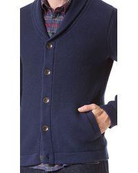 Rag & Bone Blue Donaghy Shawl Button Cardigan for men