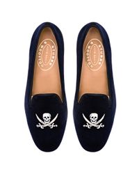 Stubbs & Wootton - Blue Skull Loafer in Navy Velvet - Lyst