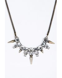 Urban Outfitters - Metallic Stone Spike Necklace - Lyst
