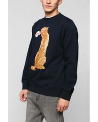 Urban Outfitters - Blue Stussy Cheetah Talking Pullover Sweatshirt for Men - Lyst