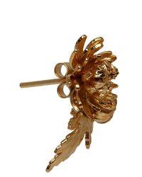 Alex Monroe Metallic Gold Plated Chrysanthemum and Leaf Stud Earrings
