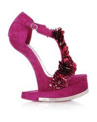 Alexander McQueen | Pink Enameled Flower Suede Platform Sandals | Lyst