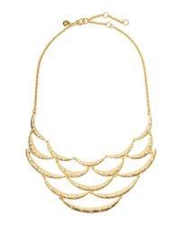 Alexis Bittar Metallic Crystal-Studded Scalloped Bib Necklace