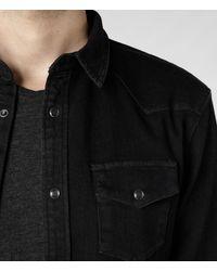 AllSaints Black Bassett Shirt for men