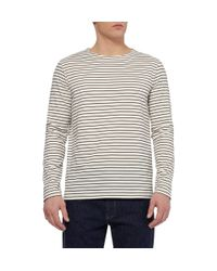 A.P.C. White Striped Cotton-Jersey T-Shirt for men