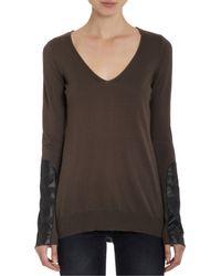 Barneys New York Brown Leather Forearm V-Neck Pullover