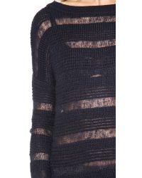 Brochu Walker Black Textured Boat Neck Sweater
