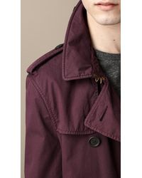 Burberry Purple Short Cotton Twill Trench Coat for men