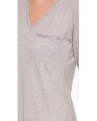 Calvin Klein Gray Cotton Long Sleeve Nightshirt - Grey Heather