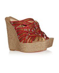 Christian Louboutin - Red Trompe Loeil Raffia Wedge Sandals - Lyst