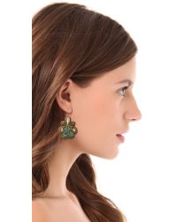 Deepa Gurnani - Brown Crystal Swirl Earrings - Lyst