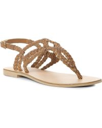 Dune Natural Jameela Woven Leather Sandals