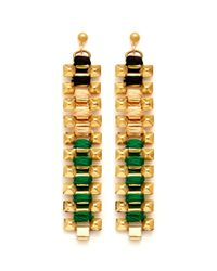 Ela Stone | Multicolor Coloured Thread Studs Chain Earrings | Lyst