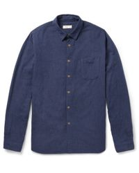 Folk Blue Pindot Woven-Cotton Shirt for men
