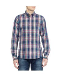 Gant Rugger Blue Plaid Button Down Collar Cotton Oxford Shirt for men