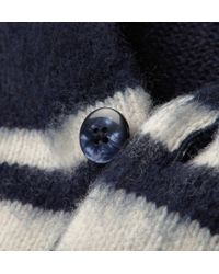 Gant Rugger Blue Striped Wool and Mohair Blend Cardigan for men