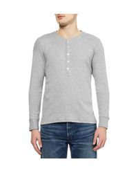 Gant Rugger Gray Long Sleeved Cotton Blend Jersey Henley Tshirt for men