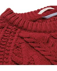 Gant Rugger Red Cable Knit Cotton Blend Sweater for men