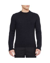 Gucci Blue Ribbed Knit Wool and Alpaca Blend Sweater for men