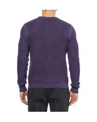 Gucci Purple Waffle Knit Wool and Cashmere Blend Sweater for men