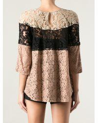 INTROPIA Natural Colour Block Crochet Top