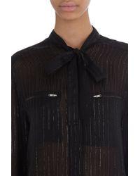 IRO Black Metallic Striped Tie Neck Blouse