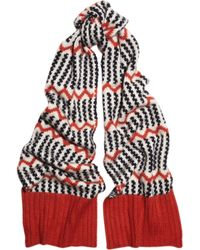 J.Crew - Red Float Stitch Patterned Knitted Scarf - Lyst