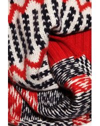 J.Crew | Red Float Stitch Patterned Knitted Scarf | Lyst