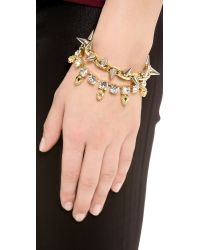 Joomi Lim Metallic Baroque Punk Crystal Skull Spike Bracelet