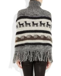 JOSEPH Gray Peruvian Inspired Mohair And Wool Blend Poncho