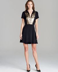 Juicy Couture Black Dress Gold Sequin