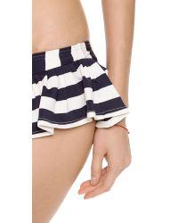 Juicy Couture Black Boho Stripe Skirted Bikini Bottoms