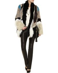 Just Cavalli Gray Striped Shearling Coat