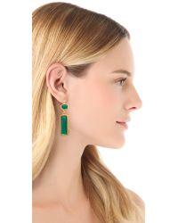 Kenneth Jay Lane Green Crystal Drop Earrings