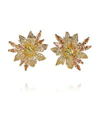 Kenneth Jay Lane Metallic 18karat Goldplated Cubic Zirconia Flower Earrings