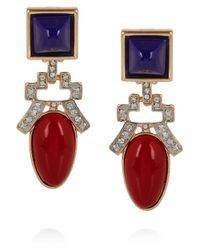 Kenneth Jay Lane Red Goldplated Resin and Crystal Clip Earrings