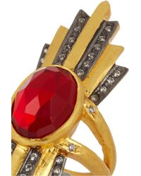 Kevia - Metallic Gold-plated, Ruby And Cubic Zirconia Ring - Lyst