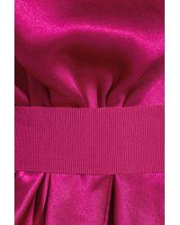 Lanvin Purple Asymmetric Draped Silksatin Dress