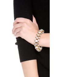 Lee Angel | Metallic Crystal Baguette Box Link Bracelet | Lyst