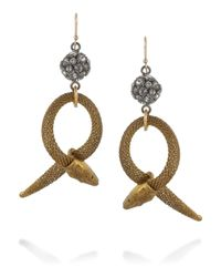 Lulu Frost | Metallic Goldtone Crystal Snake Earrings | Lyst