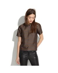 Madewell Brown Curvedcollar Top in Stripe