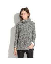 Madewell Gray Marled Funnelneck Sweater