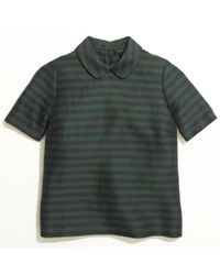 Madewell Green Curved collar Top in Stripe