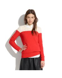 Madewell Red Colorblock Cable-knit Sweater