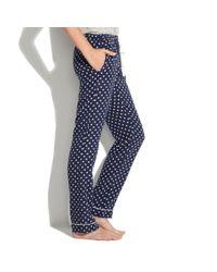 Madewell Blue Silk Pajama Pants in Domino Dot